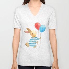 Bunny & Balloons Unisex V-Neck
