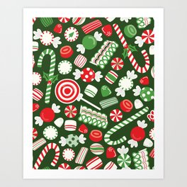 Christmas Candy Traditional Art Print