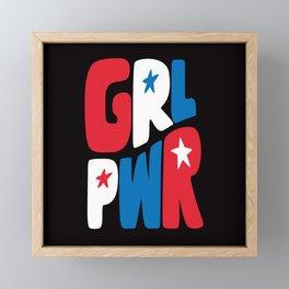 GRL PWR Red, White and Blue Framed Mini Art Print