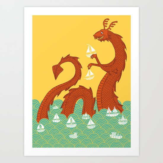It's a Good Day to be a Sea Monster Art Print