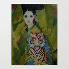 Woman with tiger Poster
