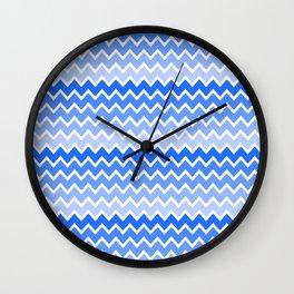 Blue Ombre Chevron Wall Clock