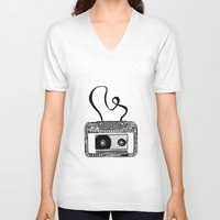 cassette V-neck T-shirts featuring Cassette by Virki
