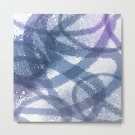 Blue Purple Watercolor Circles Metal Print