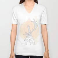 antlers V-neck T-shirts featuring Antlers by Heidi Banford