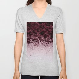 Burgundy CrYSTALS Ombre Gradient Unisex V-Neck