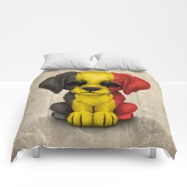 Cute Puppy Dog with flag of Belgium Comforters