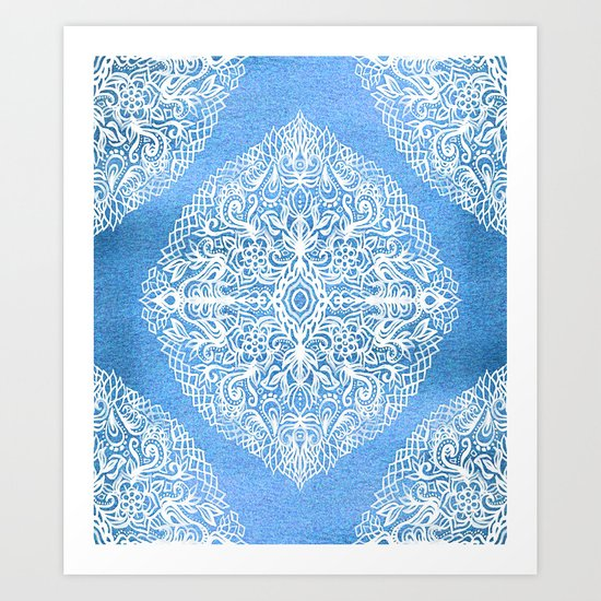 White Gouache Doodle on Pearly Blue Paint Art Print