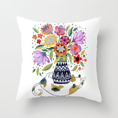 Calico Bouquet Throw Pillow