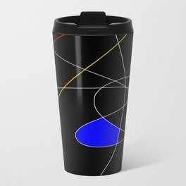 Primary Introduction - Abstract, red, blue, yellow, black, white artwork Travel Mug