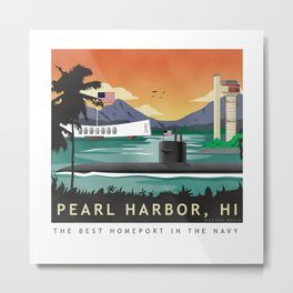 Pearl Harbor, HI - Retro Submarine Travel Poster Metal Print