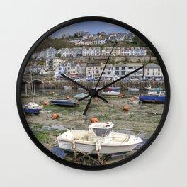 Looe bridge and boats  Wall Clock