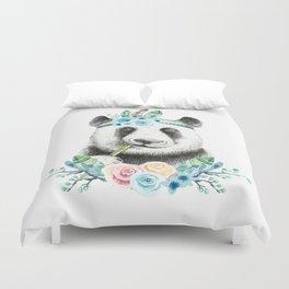Watercolor Floral Spray Boho Panda Duvet Cover