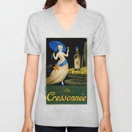Vintage 1923 La Cressonnee Absinthe Advertisement Poster by Paul Mohr Unisex V-Neck