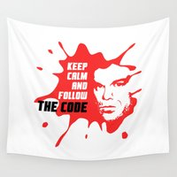 dexter Wall Tapestries featuring Dexter: Keep calm and follow the code by dutyfreak