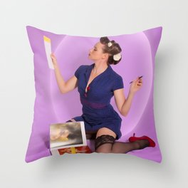 """Planning"" - The Playful Pinup - Polka Dot Dress Pinup Girl by Maxwell H. Johnson Throw Pillow"