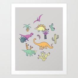 Dinosaur Desert Art Print
