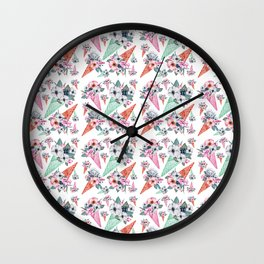Pink teal hand painted watercolor cone tropical floral Wall Clock