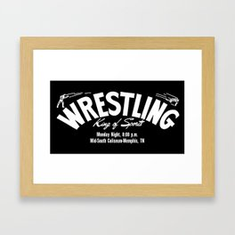B&W Wrestling Logo Framed Art Print
