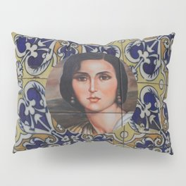 Spain 46 - Woman in Madrid with mosaic on the wall Pillow Sham
