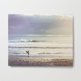 Surfer on the California Cost Metal Print