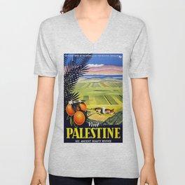 Palestine, vintage travel poster Unisex V-Neck