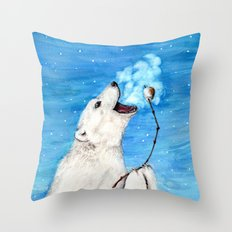 Polar Bear with Toasted Marshmallow Throw Pillow