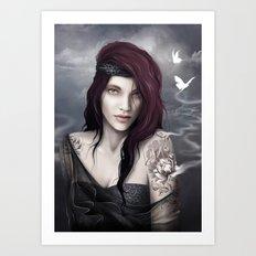 Tattoo girl Art Print