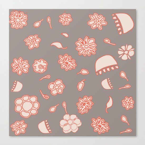 floral black and red Canvas Print
