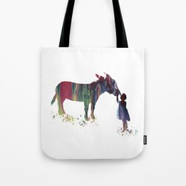 donkey and child art Tote Bag