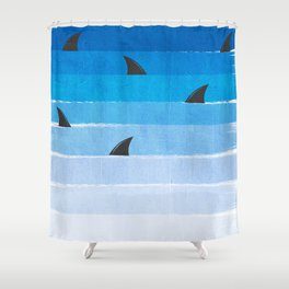 Sharks - shark week trendy black and white minimal kids pattern print ombre blue ocean surfing  Shower Curtain