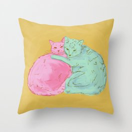 Cat Cuddles Throw Pillow