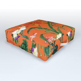 Vintage wild flowers orange Outdoor Floor Cushion