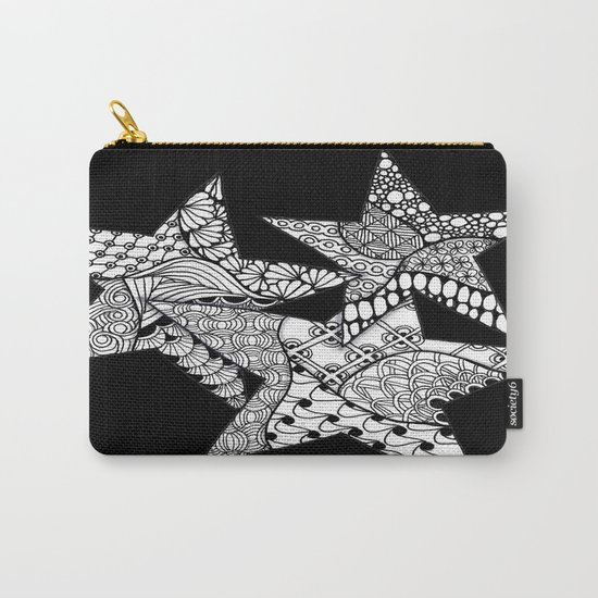 Midnight Zentangle Stars Black and White Illustration Carry-All Pouch