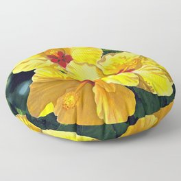 Yellow Hibiscus #18 Floor Pillow