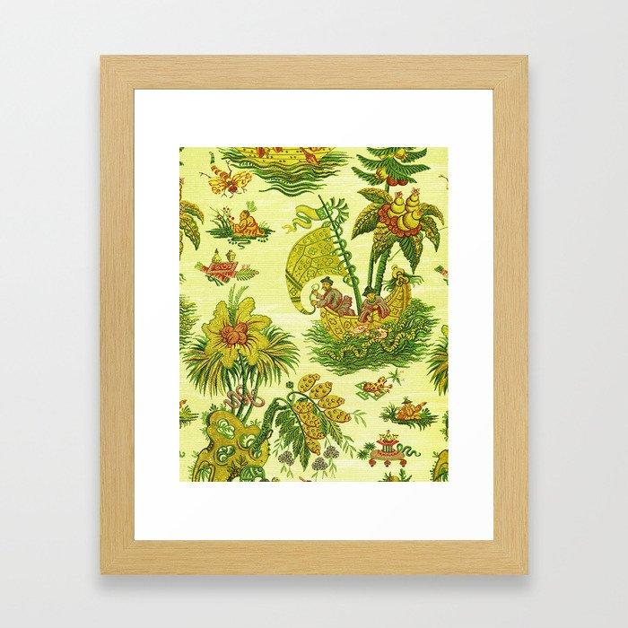 Chartreuse Chinoiserie Framed Art Print