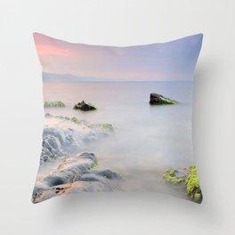 stones moss rocks smooth surface silence fog veil wet Throw Pillow