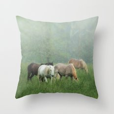Out in the rain Throw Pillow