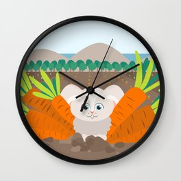 Bunny and carrots Wall Clock