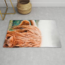 Long haired cow close up watercolor painting Rug