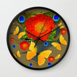 ORANGE POPPY FLOWER & BUTTERFLIES PEACOCK PATTERNS Wall Clock