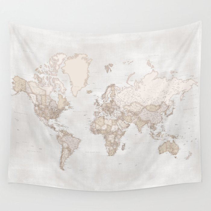 Rustic And Highly Detailed World Map With Cities Square Lucille