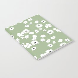 Modern floral on dusty green ground Notebook