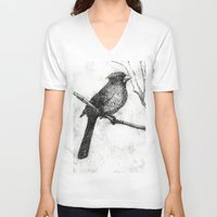 cardinal V-neck T-shirts featuring Cardinal by Rebecca Joy - Joy Art and Design
