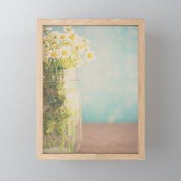 A mason jar full of pretty flowers. Framed Mini Art Print