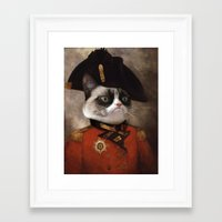 general Framed Art Prints featuring Angry cat. Grumpy General Cat.  by UiNi