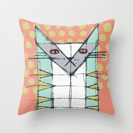 Cubist Cat Study #2 by Friztin Throw Pillow