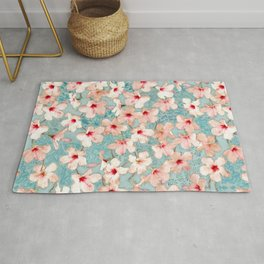 Shabby Chic Hibiscus Patchwork Pattern in Peach & Mint Rug