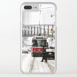 Snowy day in Toronto Clear iPhone Case