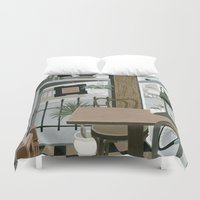 cafe Duvet Covers featuring View from the Cafe by Yuliya